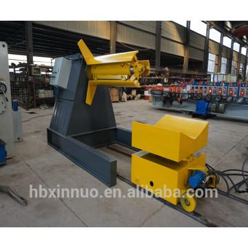 machine manuelle de haute qualité de decoiler d'uncoiler de 5 tonnes avec la voiture de chargement