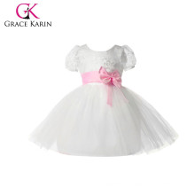 Grace Karin Pink Bowknot Waistband Cheap Princess Flower Girls Dresses With Short Sleeve CL4610