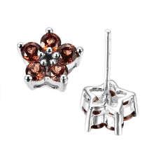 Цвет камня - Гарнет ювелирные изделия Серьги (GE0924)