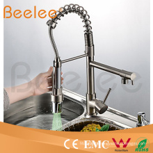 Kitchen Faucet Two Heads Pull Down Spray Brushed Nickle Spring Kitchen Sink Faucet