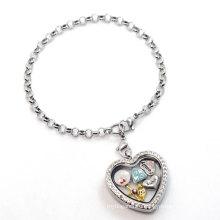 Silver heart pearl chain bracelet, fancy latest custom floating charms bracelet design