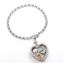 Серебряное сердце жемчуг цепь браслет, причудливая последний пользовательские плавающей медальон Шарм браслет дизайн