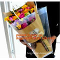 PP Trapezidal Rectangular Flower Package Bags, plastic flower carry bags with hanging for potted plant bags