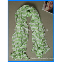 Yarn-dyed green and white scarf cotton