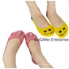 Jacquard personalizado por mayor peinado algodón calcetines invisibles de las mujeres