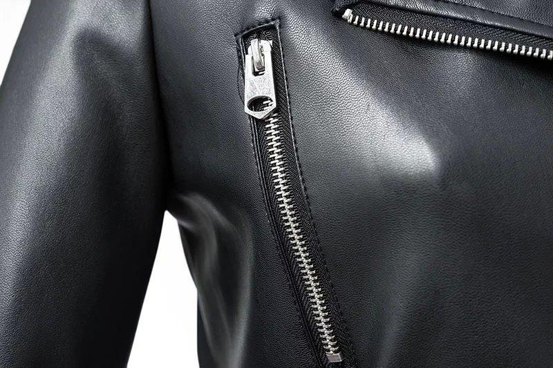 Women Zipper Pu Leather Jacket