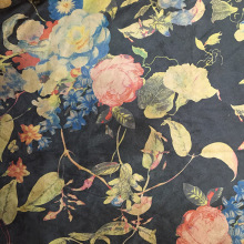 Printing Flower Suede Fabrics Woven Backing Composited