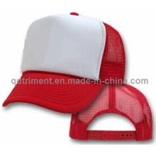 Gorra popular del camionero de la malla del poliester de la esponja (casquillo T-Red)