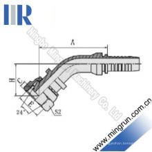 Raccord hydraulique de tuyau de filetage métrique de coude de 45 degrés (20441)