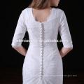 Casamento ocidental vestido de festa de casamento andar comprimento cor branca bodycorn vestido de dama de honra tradicional com pequena cauda