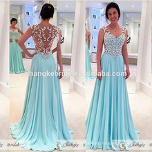 Elegant Mother of Bride Dresses Mint Green Chiffon Lace Pattern See Through Long Party Evening Gown