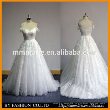 Best selling white lace off shoulder sweetheart wedding gown lace applique bridal dress patten soft tulle dress