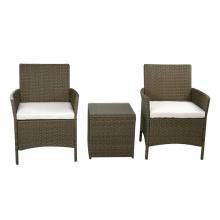 Patio 3 Piece Bistro Set Wicker Rattan Outdoor Garden Furniture Sofa Chair Set with Cushion.