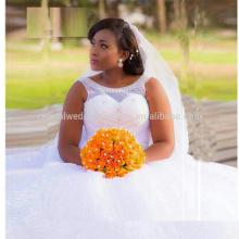 2017 pesados cristales de las perlas Vestido De Noiva Appliqued los vestidos de boda africanos del vestido de bola del cordón grande del tamaño MW997