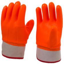 Fluoreszierende orangefarbene PVC-beschichtete Handschuhe
