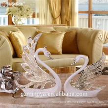 Romantic high-end show pieces wedding table decoration good willing resin swan craft figure high grade for guests