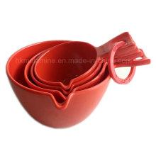 Vermelho, melamina, medindo, colher, jogo