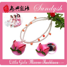 Beautiful Little Princess Jewellery Pink Rose Flower Mirror Necklace For Kids