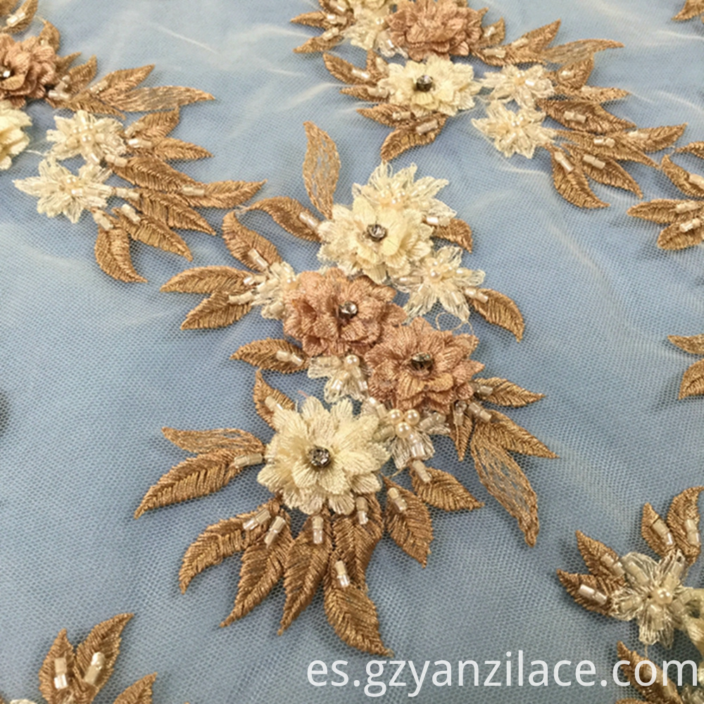 Orange Handmade Stone 3D Flower Fabric