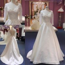 Backless Lace Long Sleeve Satin Ballgown Bridal Wedding Dress Gown Mat-117