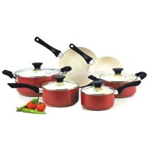 Nonstick Ceramic Coating 10-Piece Cookware Set, Red