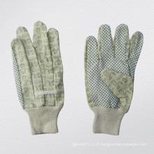 Gant de jardin en coton de palmier à pois en PVC - 2620