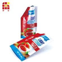 Pack de recharge de bouteilles en plastique de ketchup à imprimé logo Stand Up Spout Pouch