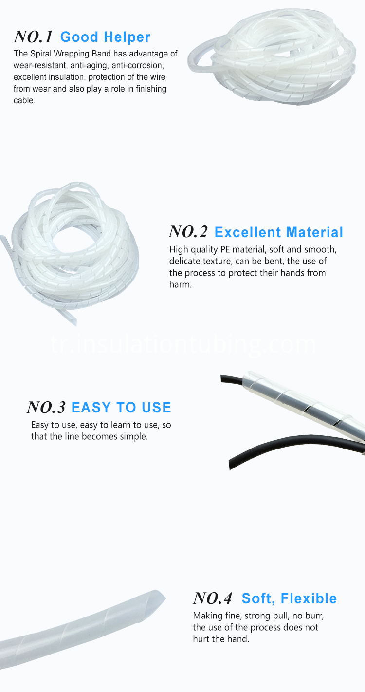 High Quality PE Plastic Electrical Wire Spiral Wrapping Band