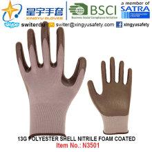13G Полиэфирные оболочки Нитриловые пены с покрытием перчатки (N3501) с CE, En388, En420, рабочие перчатки