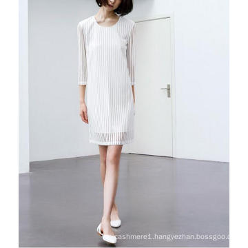 Fashion Charming Pure White Stripe Chiffon Ladies Dress