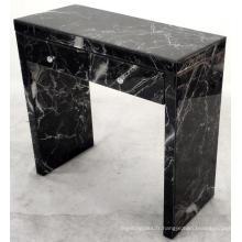 Coiffeuse en MDF à 2 tiroirs en verre à motif marbre