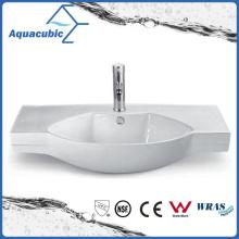 Semi-Recessed Bathroom Ceramic Cabinet Basin Hand Washing Sink (ACB2191)