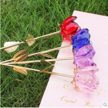 Beautiful Crystal Rose Flower As Holiday Gifts For Wedding Decorations