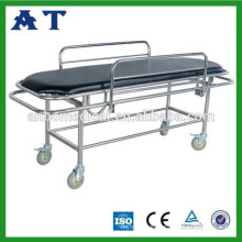 Stainless steel hospital examination bed with castors