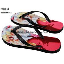 A maioria dos populares 3d de impressão casuais chinelo flip flop shoes (ff68-11)