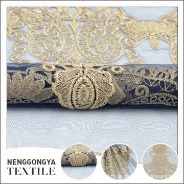 Tela plana del bordado del vestido del partido indio de moda del OEM amarillo