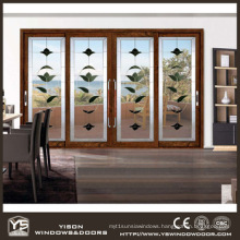 Woodwin Wood and Aluminum Composite Sliding Door with Double Tempered Glass