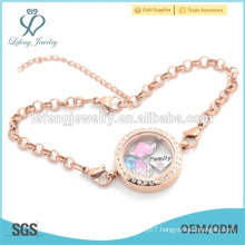 Rose gold stainless steel floating locket charms bracelet, chain bracelet jewelry