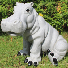 Modern house decoration stone hippo garden sculpture