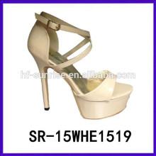 SR-15WHE1519 las señoras de lujo wedding las sandalias de las mujeres las últimas sandalias del alto talón sandalias de los nuevos modelos mujeres