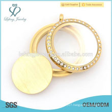 Hot sale stainless steel gold round plate for floating locket,no pendant