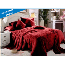 6 Piece Red Faux Fur Blanket with Bedding Set