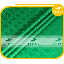 Stock green damask fabric guinea brocade soft quality cotton fabrics african bazin wholesales