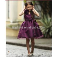 -Линии длиной до колен молния назад фиолетовый цветок девочка платье день рождения платье FGZ36 платье 9 лет