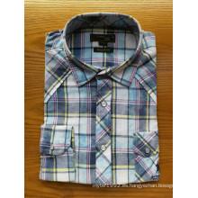 Camisas de hombre al aire libre de manga larga de lana a cuadros de algodón