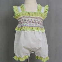 Latest summer white cotton-linen smocked baby clothes romper