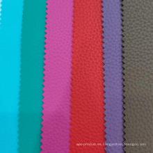 Cuero de PVC de grano litchi con tela de rubor