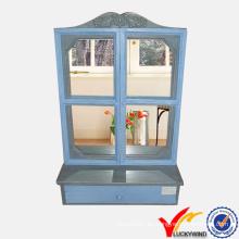Francés Casa de campo Deocrative ventana de diseño de la pared Espejo de madera estante