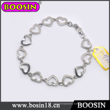 Elegant Female Metal Heart Chain Cuff Bracelet #3965