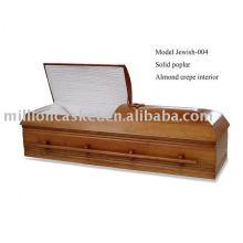 Caixão de madeira de judeu-004 poplar sólidos com cor de mel para funerais